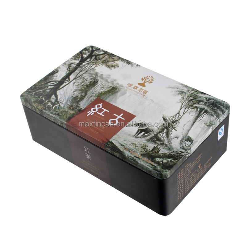 matte tea packaging tin box metal rectangle
