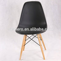 Molded Plastic Side Chair Wooden Dowel Base ikea chair replica