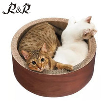 hot selling products cartoon design corrugated cat round scratcher bed private label