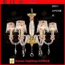 PROMOTION Lumax lighting red crystal chandelier glass arms with K9 crystal #D9011-6L