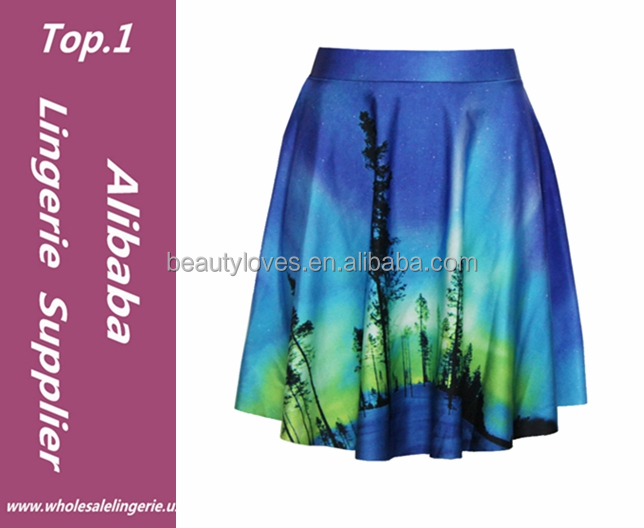 Women high quality Summer Starry Sky Print Elastic models Causal sexy girl Mini Skirt