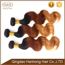 Fashion style virgin indian body wave ombre hair extensions colored two tone virgin hair weave for black women