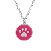 Factory Dropshipping Enamel Colors Cats PawPrint Pendants Necklace For Women