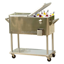 Patio cooler cart with shelf