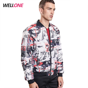 2018 fashion white 100% polyester winter custom 3d printing design men bomber sublimation jackets