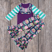 American Style Baby Shirt Ruffle Flower Pants Fall Boutique Outfits For Girls