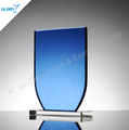Wholesale blue color blank glass trophy for logo engraving
