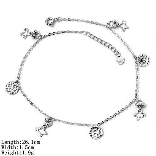jl-<strong>17</strong> 925 Sterling Silver Fashion Anklet Jewelry Silver Jewelry 925 Plain Silver Girl Fashion Charm Anklet