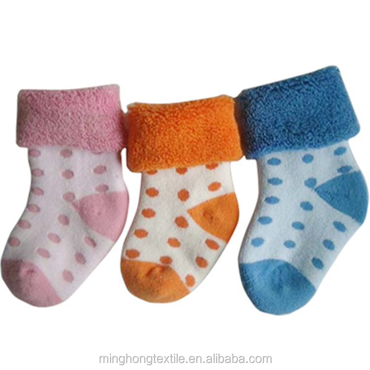 2015 new design custom high quality soft cotton baby Middle Tube terry socks