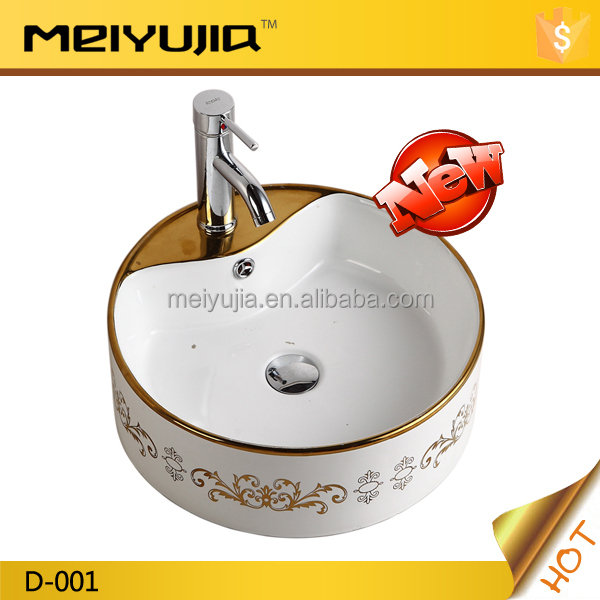 new Foshan bathroom luxury wash basin gold flower art basin