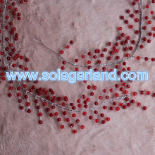 Factory Wholesale 6MM Clear Red Beaded Garland Wire Crystal Beaded Branch For Wedding Decoration