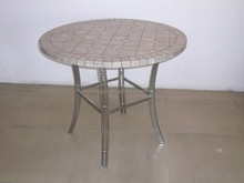 Round tile top dining table