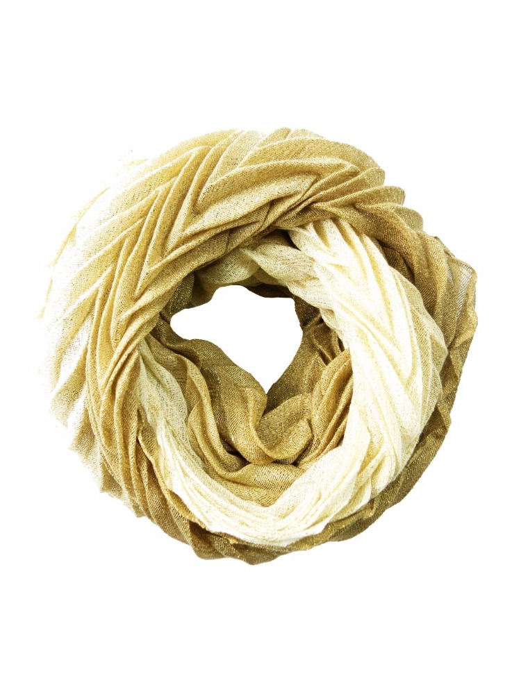 Gradation Wave Textured Acrylic Polyester Lurex Glitter Pleat Woven Women Ladies Female Snood Neckwarmer Infinity Tube Scarf