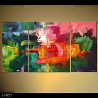 100% Handmade 3 panels Colorful textured abstract modern oil paintings on canvas,THE LADY WITH THE GREEN HAT #69021