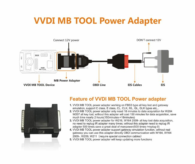 Xhorse VVDI MB TOOL Power Adapter Work with VVDI MB TOOL for Be-nz W164 W204 W210 Data Acquisition W204 W207 all key lost