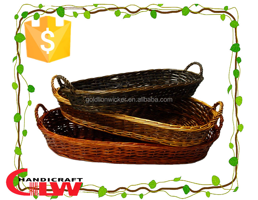 kitchen accessories, fruit basket,3 pieces willow peel bread baskets