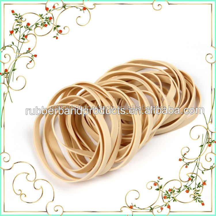 100% Rubber Beige Color Large Wide Elastic Rubber Band For Sale