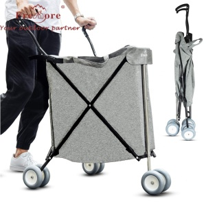 Folding Shopping Trolley Lightweight Portable Four Wheel Shopping Cart Bag for Luggage Grocery