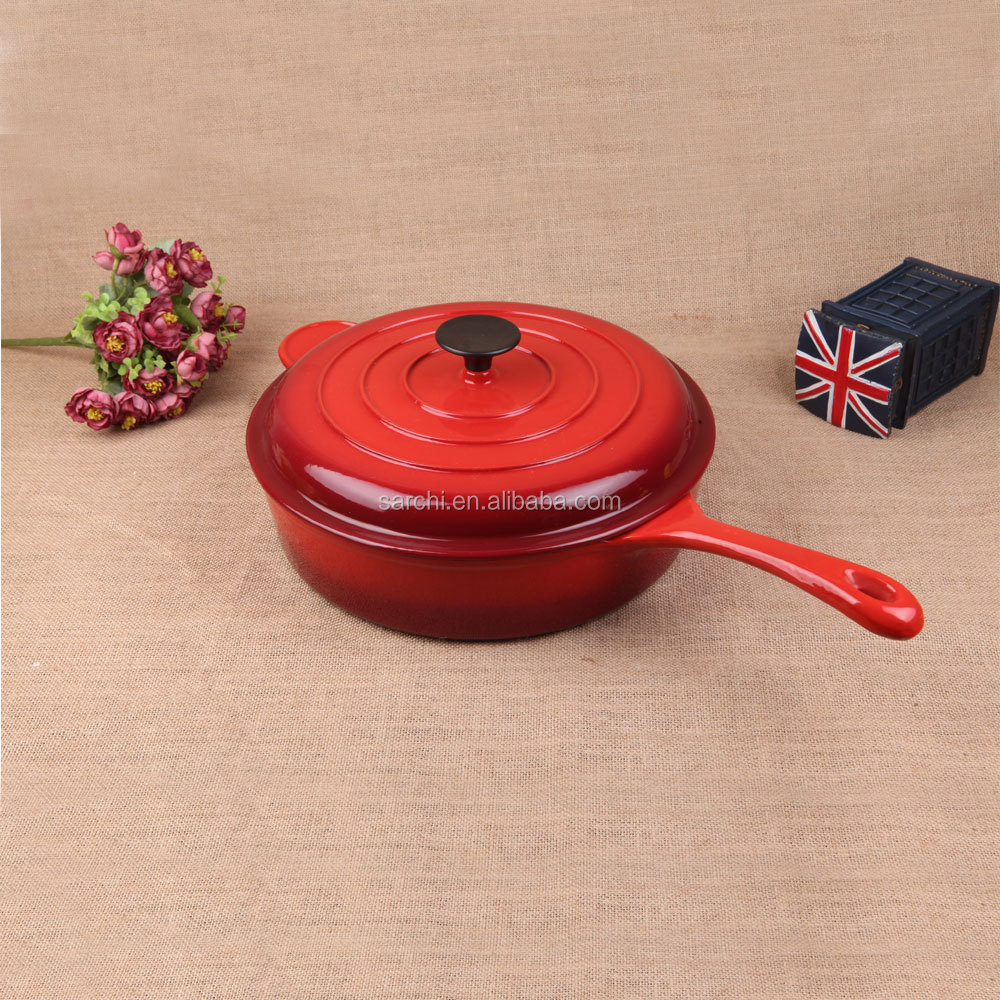 Red Enamel cast iron pan support with cast iron lid