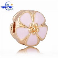 European style pink cherry bloom gold stop clip beads charms for bracelet & necklace wholesale CLP006