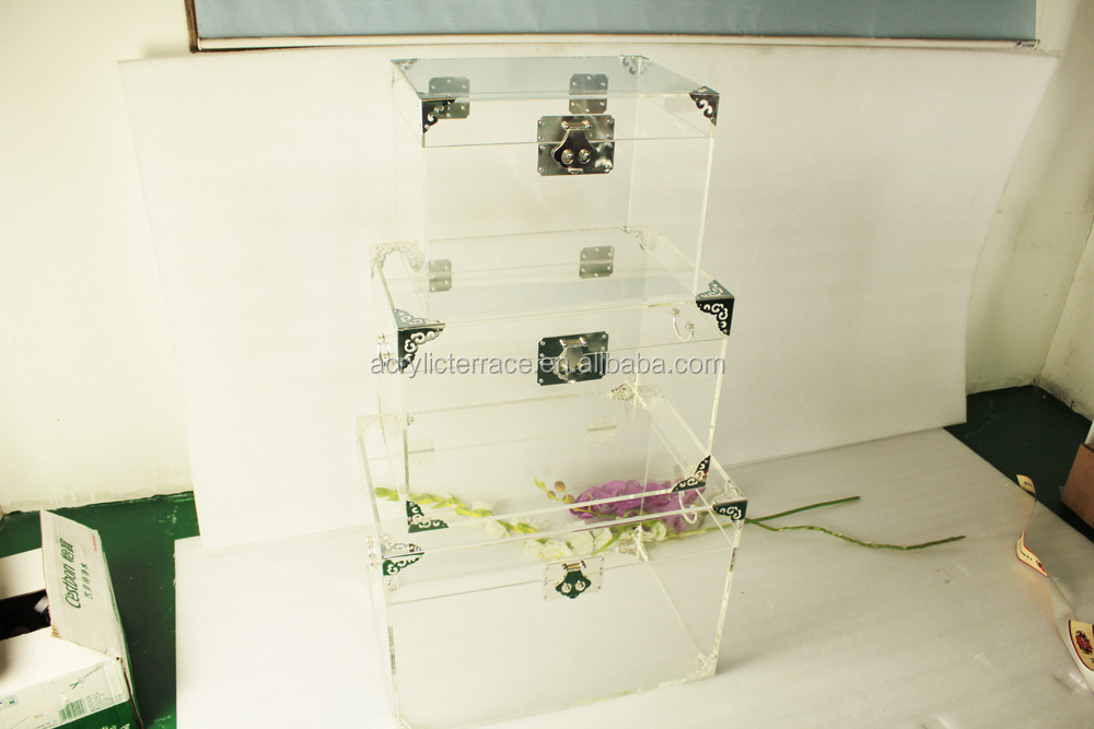 Cheap clear acrylic trunk table with corner protectors