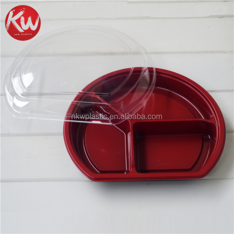 KW-5301 Disposable 3 compartment plastic food container,take away bento lunch box