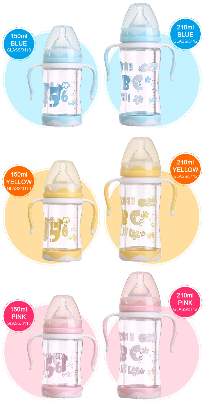 Popular Feeding Minions Wide-neck Baby Product Glass Baby Bottle