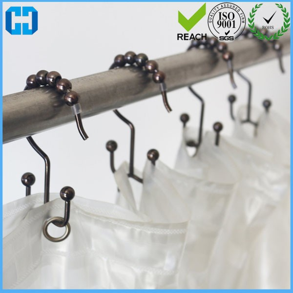 Stainless Steel 12 Roller Balls Shower Curtain Hooks Rings Factory
