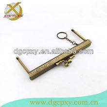 15.5x6.5cm brass Metal purse sewing frame with kiss lock and a ring