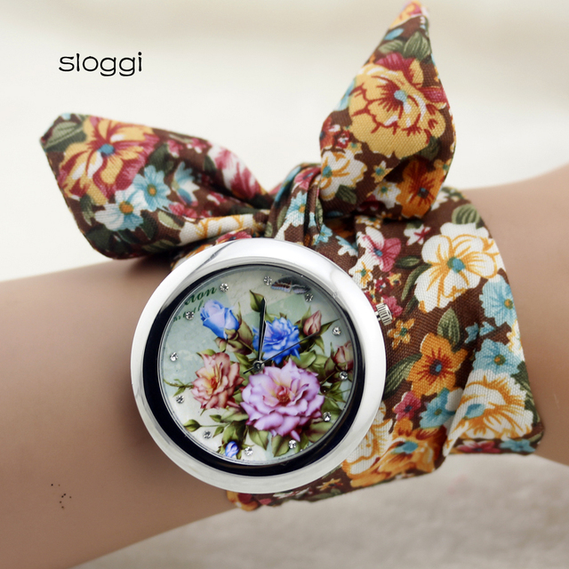 sloggi design  Ladies flower cloth wristwatch fashion women dress watch high quality fabric watch sweet girls Bracelet  watch