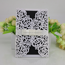 china laser cutting luxurious bengali roll handmade floral wedding invitation card