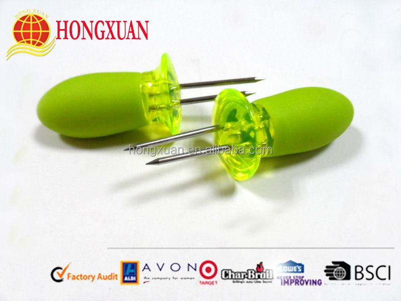 3in colorful corn needle/corn holders/plastic handle corn holders
