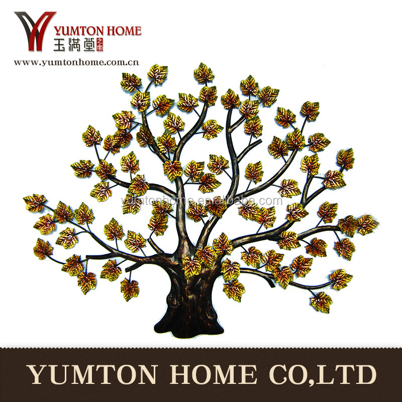 gold tree metal leaf wall art hanging decor