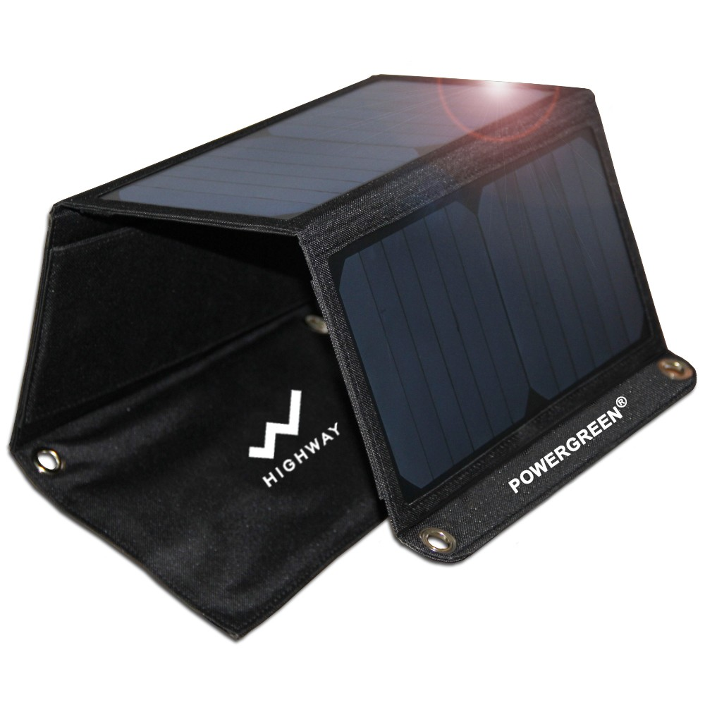 PowerGreen 21W 5V 2A Solar Panel Bag Power Bank Charger For Phone