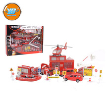 Yibao kids educational fire fight diecast miniature city models include mini truck car toy