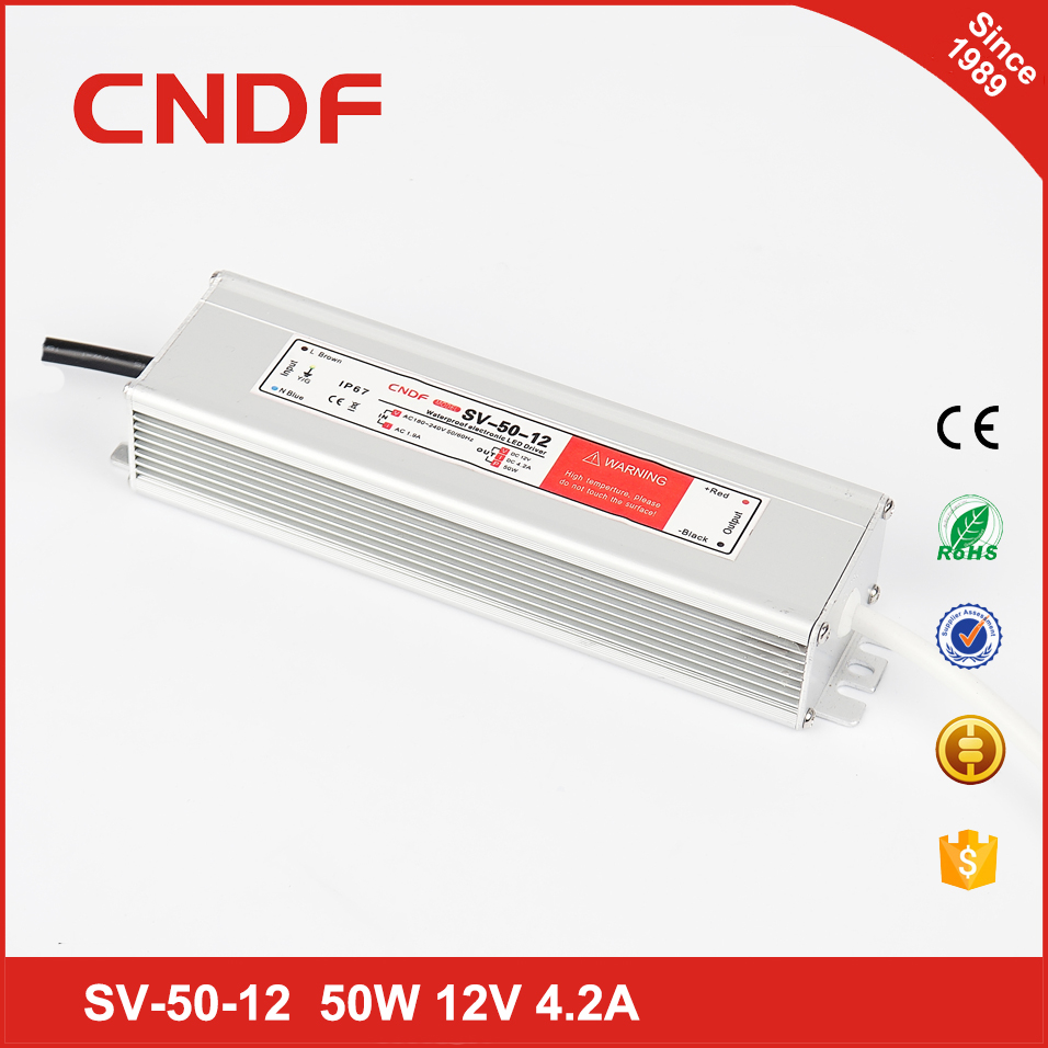 China supplier CNDF waterproof power supply SV- 50-12 50w 12volt constant Voltage led driver IP67