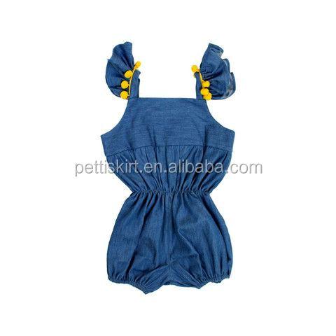 Chambray Baby Rompers With Pom Pom Girls Denim Bodysuit Baby Bubbles