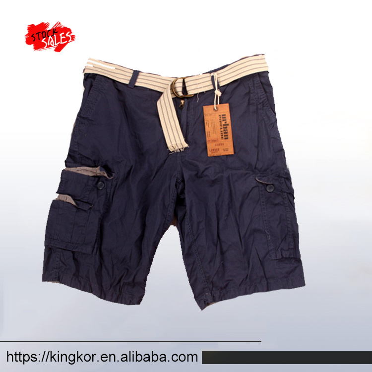 Summer 100% cotton wholesale mens cargo shorts with belt 4,500 pcs In stock