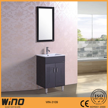600mm PVC free standing ceramic sink bathroom vanity cabinet with mirror