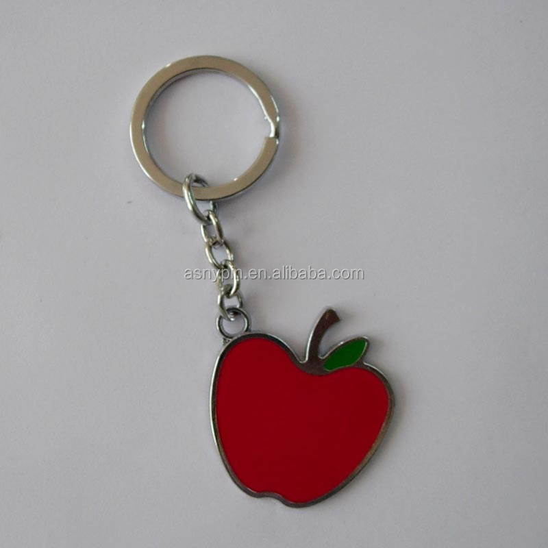 Manufacturer soft enamel red apple metal keychain