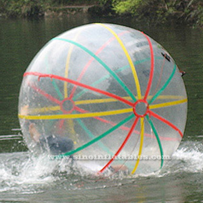 Colorful strips Commercial high quality kids N adults inflatable TPU water walking ball for funny