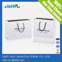 custom made paper shopping bag printing/ customized promotional paper shopping bag/ logo design white paper shopping bag