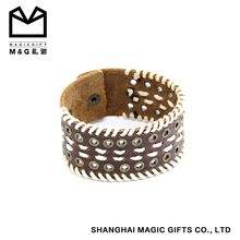 Imported cowhide Chinese supplier braided mens leather bracelet