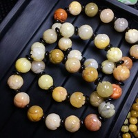 Top quality Gold silk jade lotus bead crystal bracelet for healing