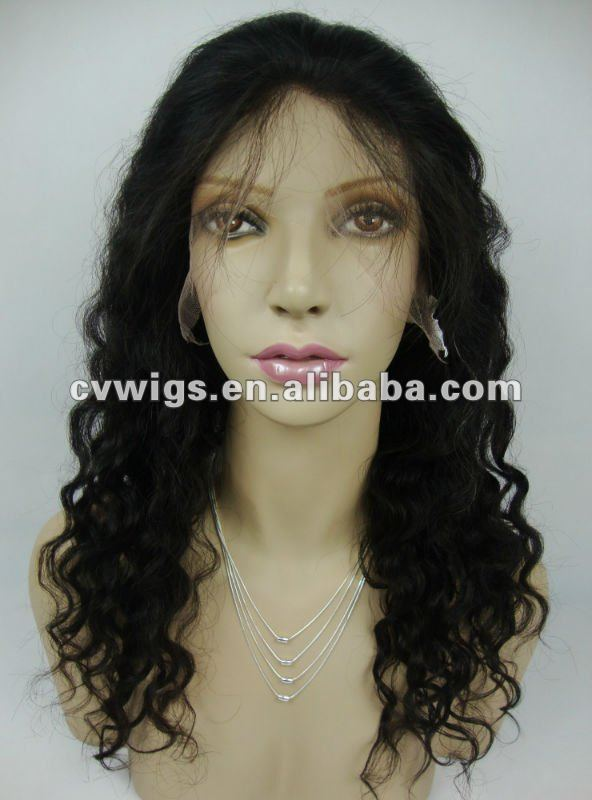 18 inch natural color deep wave Chinese virgin remy human hair wig