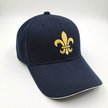 Customised Promotional Hat Royal Navy Blue Cotton White Sandwich Baseball Cap With Gold Stitching