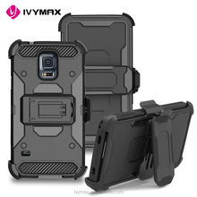 2017 TPU PC Dual Layer Heavy Duty Armor Cover Shock Reduction Cell Phone Case with belt clip holster for samsung galaxy s5