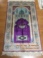 Small Size Handmade Persian Islamic tapestry Silk Muslim prayer rug