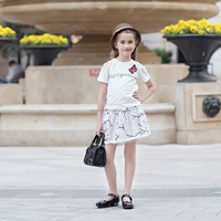 girl summer white leakage shoulder butterfly t shirt and print skirt dress