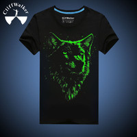 Cliffwalker Stock luminous t shirt/ glow in the dark t shirt/ el t shirt wholesale